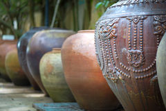 Earthenware handmade old clay pots. In Thailand Royalty Free Stock Images