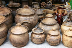 Earthenware in the market Stock Photo