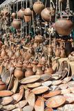 Earthenware in the market Royalty Free Stock Images