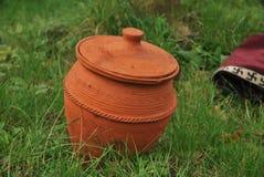 Earthenware medieval jar Stock Images