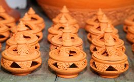 Earthenware for Olibanum. The handmade in Thailand Stock Image