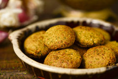 Earthenware plate with falafel Royalty Free Stock Photo