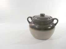 Earthenware pot. Used in Quebec to cook beans with lard - left space in blank for writing royalty free stock photo