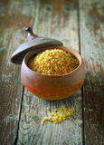 Earthenware pot of bulgur wheat Royalty Free Stock Image