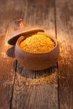 Earthenware pot of bulgur wheat Royalty Free Stock Photos