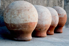 Earthenware pots used to keep water cool Royalty Free Stock Photography