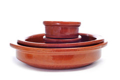 Earthenware pottery. Some earthenware pottery on a white background royalty free stock image