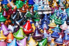 Earthenware vessels in the souks of Marrakesh Stock Photo