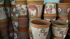 Earthenware. Vintage vase design for a wallpaper background Stock Photography