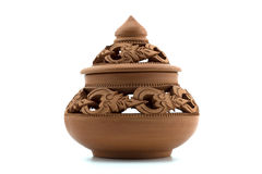 earthenware w odosobnionym na białym tle, Kamienna cyzelowanie sztuka Tajlandia Zdjęcie Royalty Free