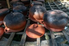 Earthernware pots are still used in hill tribe`s kitchen in northern Thailand. royalty free stock images