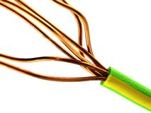 Earthing Cable 1. Electricians system earthing cable macro Royalty Free Stock Photography
