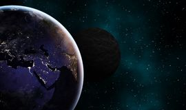 Earthlike and another dark exoplanet concept design background vector illustration