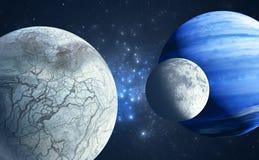 Earthlike księżyc i lodowata księżyc orbituje benzynowego giganta gospodarza planetujemy ilustracja wektor