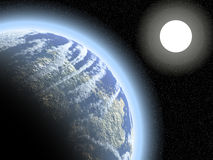 Earthlike planet and Sun Stock Photography