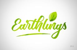 earthlings green leaf word on white background stock photo