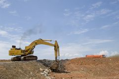 Earthmover. At work in the field Royalty Free Stock Photo