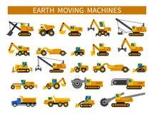 Earthmoving machines icons set Stock Photo
