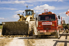 Earthmoving truck ay Cement quarry Stock Photos