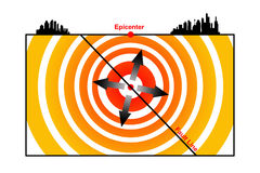 Earthquake. Overview of focus, epicenter, fault line and shock waves of an earthquake vector illustration