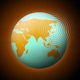 Earthquake. Earth with quake waves in Japan stock illustration