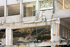 Earthquake. Interior of building after strong seismic earthquake Stock Photography