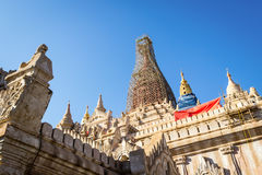 Earthquake affected at Ananda temple to be renovate. Renovated Ananda temple after earthquake in Myanmar Royalty Free Stock Photography