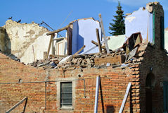 Earthquake. Building destroyed by the earthquake Stock Photos