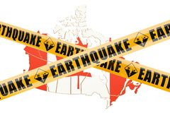 Earthquake in Canada concept, 3D rendering. Isolated on white background Stock Photo