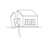 Earthquake. Catastrophic natural phenomenon destroying houses. Disaster. Vector illustration Royalty Free Stock Images