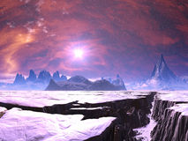 Earthquake Chasm on Alien Ice Planet. The snow covered landscape on has been ravaged by devastating earthquakes over the millennia on a planet where it is always Royalty Free Stock Photo