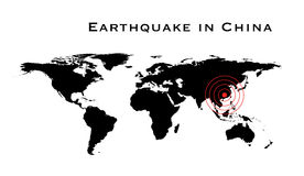 Earthquake in China. Illustration of world map with red circles Stock Image