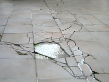 Earthquake crack on floor stock photography