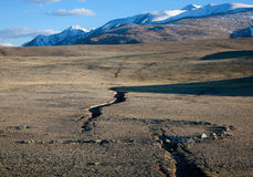 Earthquake crack. In the mountains Stock Photo