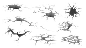 Free Earthquake Crack. Ruined Wall, Hole In Ground With Cracking And Earth Destruction Cracks Isolated Vector Cartoon Set Royalty Free Stock Photo - 164207075