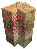 Earthquake and 3d earth section. 3d earth section on white background Royalty Free Stock Photos