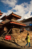 Earthquake damage at Durbar Square,  Kathmandu, Nepal Stock Photo