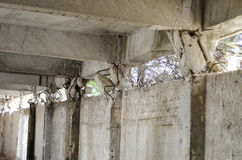 Earthquake damage failure column Stock Photos