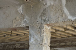 Earthquake damage failure column Royalty Free Stock Image