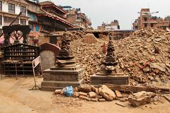 Earthquake damage in the streets of Kathamndu from the Thamel ba Royalty Free Stock Photography