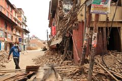 Earthquake damage in the streets of Kathamndu from the Thamel ba Stock Photos