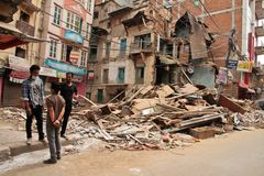 Earthquake damage on the streets of Kathamndu from the Thamel ba Stock Photos