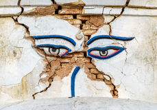 Earthquake damaged Buddha's eyes at Swayambhunath Stock Photography