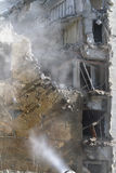 Earthquake damaged building. Closeup view of a building severely damaged by an earthquake.  Can also be used for other natural disasters, terrorism or accidental Stock Photography