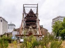 Christchurch Cathedral in ruins royalty free stock photos