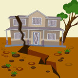 Earthquake damaged house and ground splitted in two parts. Natural disaster destroyed environment and residential building. Vector illustration of broken home Stock Photo