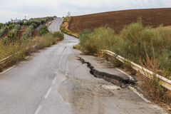 Earthquake damaged road Royalty Free Stock Photos