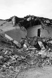 Earthquake destroy. A view of a house distroyed by an earthquake stock image
