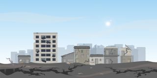 The earthquake destroyed houses and street vector illustration