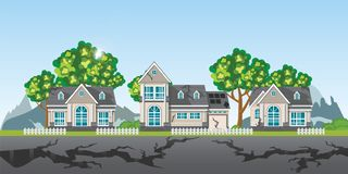 The earthquake destroyed village of houses and street. Natural disasters vector illustration royalty free illustration